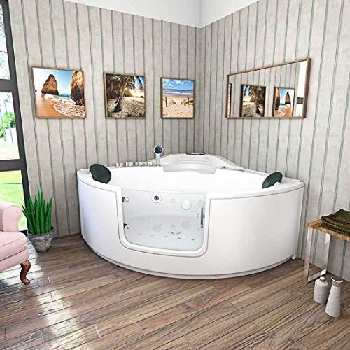 Bañera de esquina, bañera, bañera, bañera A60N-SC, 140 x 140 cm, con puerta, con limpieza activa de la manguera