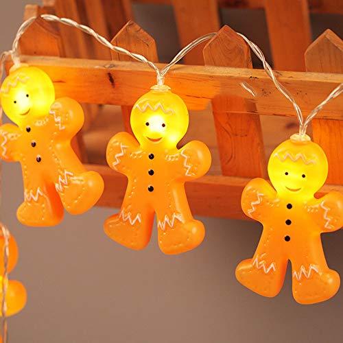 Weihnachten Lebkuchen Männer Lichterketten 3D Gold Kunststoff 64 Zoll Indoor beleuchtet, Keks Cartoon Villain Light String