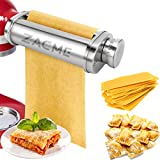 Noodle Roller Pasta Maker Attachment for Kitchenaid Mixers, Electric Dough Roller Ravioli Maker Kitchen Aid Mixer Accessory, Pasta Attachment Tool Silver Stainless Steel 1 Pack