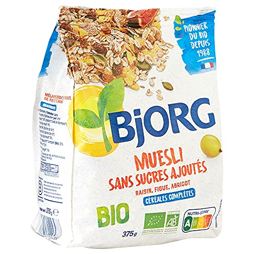 Bjorg Muesli Sans sucres ajoutés Bio - Mélange de fruits et céréales complètes - 375 g (Épicerie)