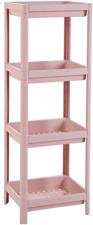 LICCC Bathroom Shelf Washbasin Bathroom Four-Story Floor Square Storage Shelf (color   Pink)