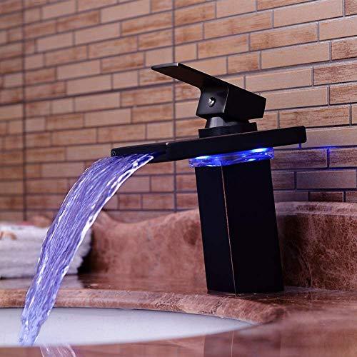Pyrojewel Negro llevada moderna color luminoso baño cuenca del agua caliente y fría del grifo de cobre Cascada antiguo retro de contacto del grifo de la práctica Hermosa
