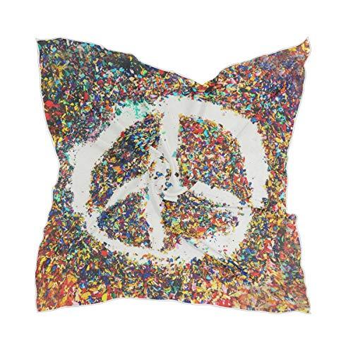 LZXO Damen Schal, buntes Peace-Zeichen-Muster, quadratischer Schal, Kopfschmuck, Kopftuch, Kopftuch, Stirnband mit 10 x Bobby-Pins – 60 x 60 cm