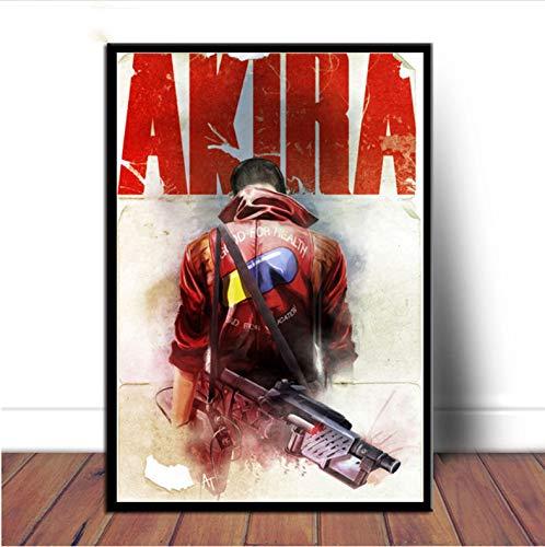 Cartel E Impresiones Akira Red Fighting Japan Anime Comic Movie Canvas Art Pintura Al Óleo Cuadros De Pared para Sala De Estar Decoración para El Hogar 50 × 70 Cm Sin Marco