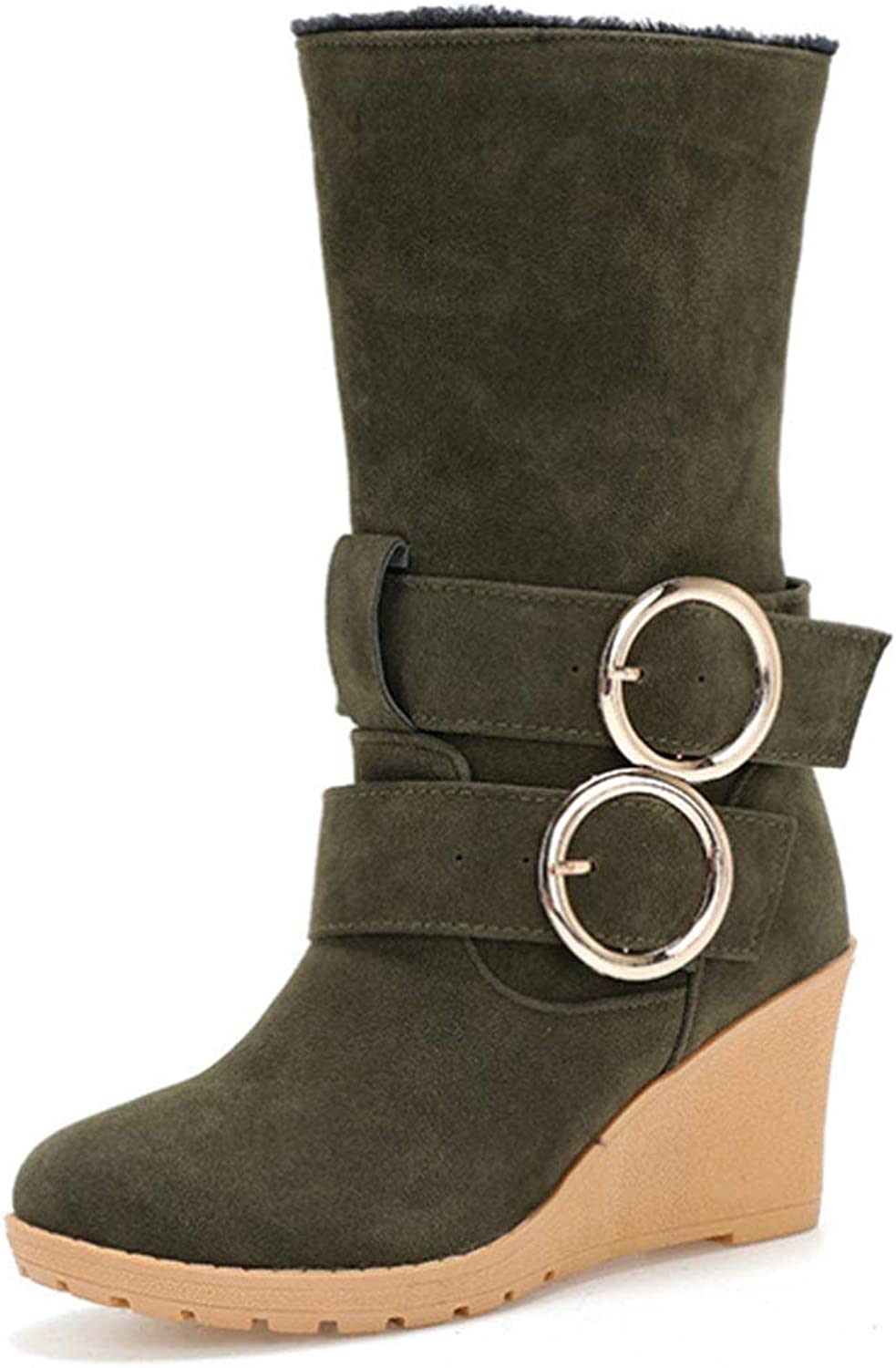 Women's Snow Boots Suede in The Tube Wedge with high-Heeled Cotton shoes Thickened Plus Velvet Belt Buckle Decorative Cotton Boots