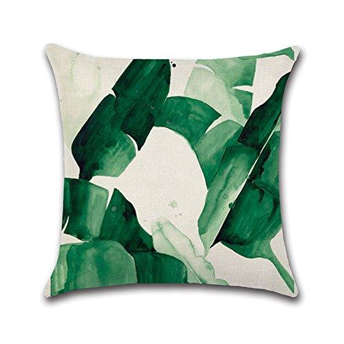 WeiMay. Funda de cojín de 45 x 45 cm de algodón y Lino, Agradable al Tacto y Suave, diseño de Plantas Tropicales, para sofá, Dormitorio, Coche