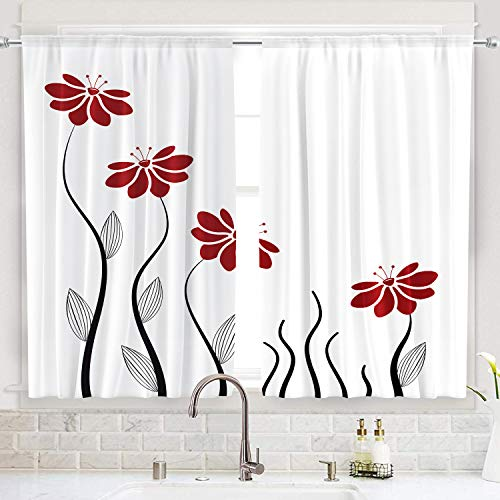 Riyidecor Red Flower Kitchen Curtains Floral Petals Rod Pocket Leaves Lines Geometrical Modern Woman Girl White Black Printed Living Room Bedroom Window Drapes Treatment Fabric 2 Panels 55 x 39 Inch