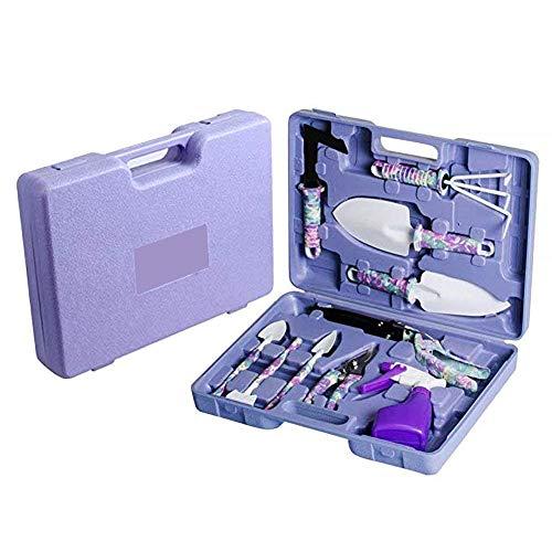 Dogggy - Juego de 10 herramientas de jardín con maleta impresa para jardinería (regalo para los amantes de la jardinería), color morado