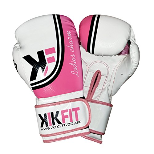 kikfit Damen Pink Maya Leder Boxhandschuhe 8oz 10oz 12oz 14oz Boxsack Muay Thai Training Damen MMA Sparring Handschuhe (Kostenloser UK Versand), damen, rose