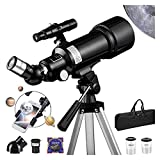 WRJY Telescopio Refractor, telescopio Refractor de 70 mm con trípode, buscador, telescopio portátil para niños, astronomía, Principiantes, telescopio de Viaje con Adaptador de teléfono,
