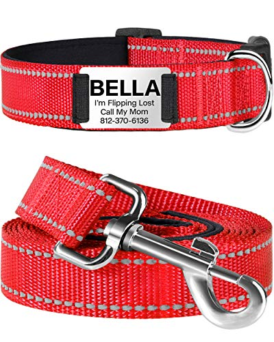 TagME Personalised Dog Collar and Lead Set,Reflective Padded Nylon Dog Collars with 6 Feet Dog Leash,Small Red