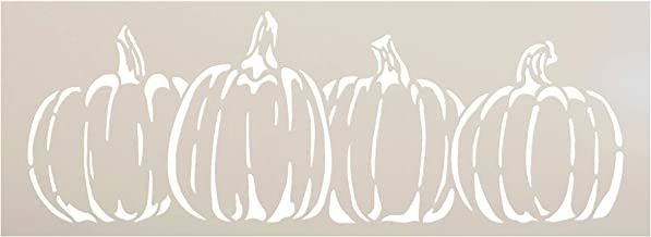 "Pumpkins in A Row Stencil by StudioR12 | DIY Simple Rustic Fall Seasonal Harvest Gift | Craft Farm Fresh Thanksgiving Halloween | Paint Wood Sign | Reusable Mylar Template | Select Size (11"" x 4"")"
