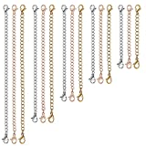 Necklace Extenders, 15 PCS Jewelry Chain Extenders for Necklaces, Double Lobster Clasp Bracelet Extender, Stainless Steel Necklace Extender (5 Gold, 5 Silver, 5 Rose Gold) by UUBAAR
