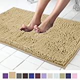 ITSOFT Non Slip Shaggy Chenille Soft Microfibers Bath Mat for Bathroom Rug Water Absorbent Carpet, Machine Washable, 21 x 34 Inches Beige