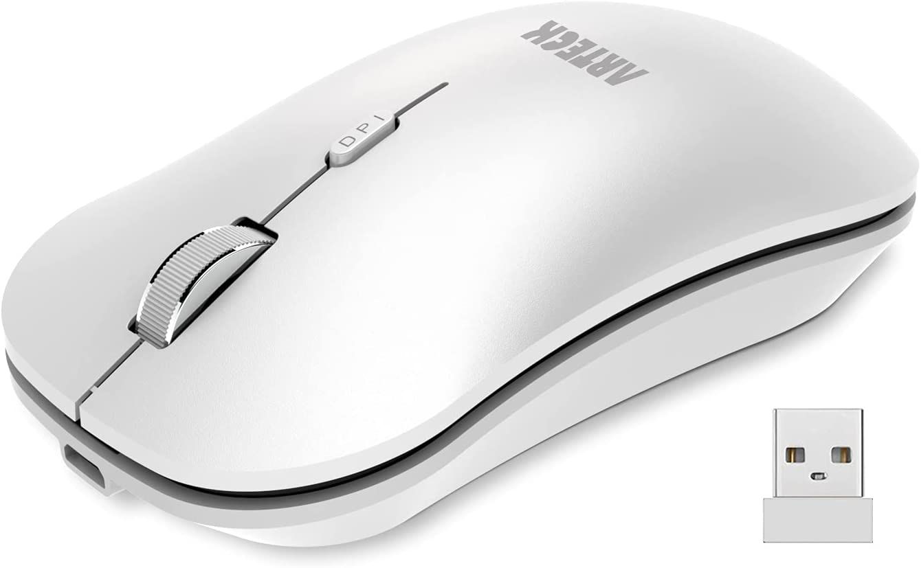 Arteck 2.4G Wireless Mouse with Nano USB Receiver Ergonomic Design Silent Clicking for Computer / Desktop / PC / Laptop and Windows 10/8/7 Build in Rechargeable Battery - White