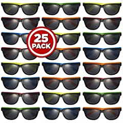 Prextex 25 Pack UV Protected Neon Sunglasses Pefect For Ur Day At The Beach UV Protected: Each Pair Is UV Protected And Safe To Wear In A Hot Sunny Day High Quality Sunglsses With Its Neon Colored Handles Makes It Fun For Kids To Wear One Size Will F...