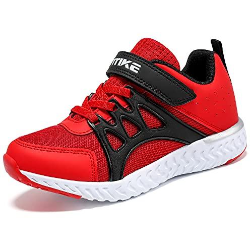 Scarpe Sportive Bambini e Ragazzi Scarpe da Corsa Ginnastica Respirabile Mesh Running Sneakers Fitness Casual(J Rosso,35 EU)