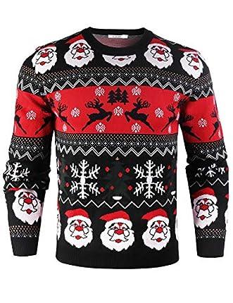 iClosam SuéTer De Hombre Y Mujer Unisex Navidad Cuello Redondo Esencial Navideño Pullover De Punto Jersey Sudaderas Sweater Invierno