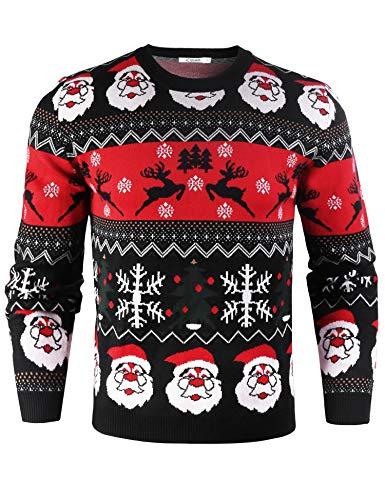 iClosam Pull Homme à Manche Longue Tricots Top Pullover Imprimé Idée Col Rond Sweater