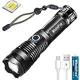 Linterna LED XHP50 Altos 4000 Lúmenes USB Recargable, 5 Modos Potente Linterna con Zoom, Impermeable, Iluminación Exterior con Indicador de Alimentación y Batería para Camping, Senderismo, Ciclismo