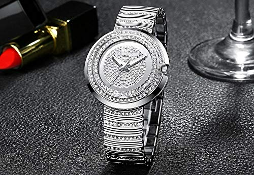 Voigoo Frauen minimalistisch-Analog-Quarzuhr Dame-Elegante Luxuxkristalldiamant-Armbanduhr Weibliche Wasserdicht Gold Armband Uhr