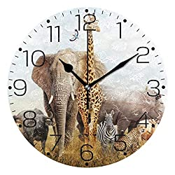 ZZAEO African Safari Animals Elephant Lion Wall Clock Fashion Frameless Decorative Clock for Kitchen Bedroom Living Room Classroom Home Decor - Round Shape