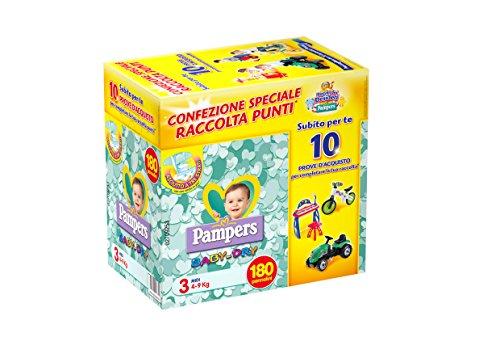 Pampers Jumbo Baby Dry, Taglia Midi - 180 Pannolini