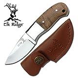 [page_title]-Elk Ridge Mini Hunter Blatt-Jagd-Messer Griff Wurzelholz + Lederscheide ER-111