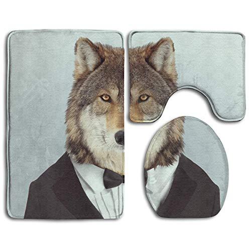 BOBO-Shop Badkamer Tapijten Set 3 Stuks, Wolf met een Strik Tie Print Antislip Bad Tapijten + Toilet Stoelhoezen + Contour Mat