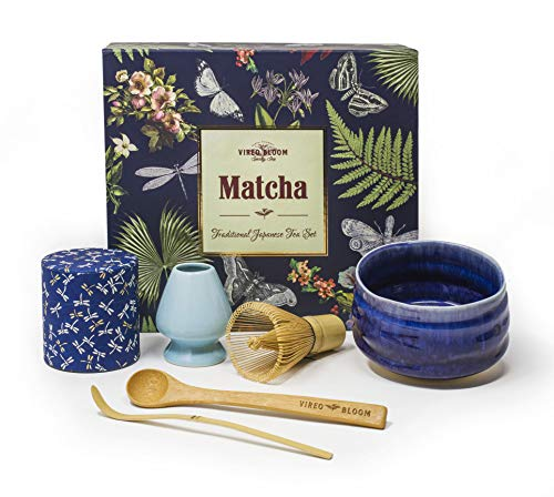 Vireo Bloom Ceremonia Matcha para té Verde - Incluye: 50 g de Premium Matcha Bowl (Chawan), Whip (Chasen), Katodo, Stand (Naoshi), Scoop (Chashaku), Cuchara de bambú - Japonés
