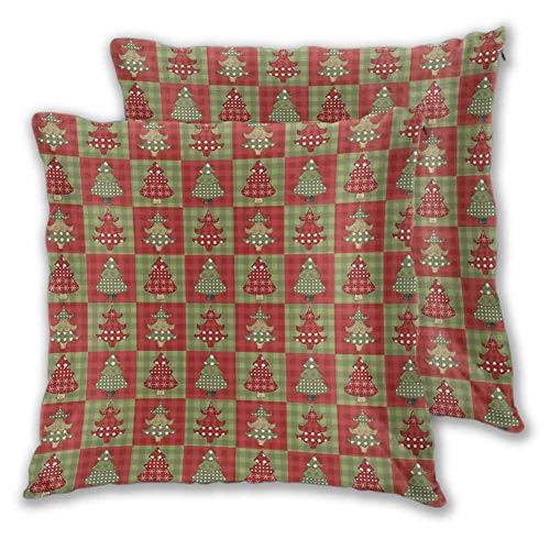 Christmas Decorative Square Pillow Cover, 26 x 26 Inch Different Styled Noel Trees on Checkered Squares Background Vintage Quilt Room decoration Christmas decoration Ruby Reseda Green Set of 2