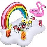 LITOU Portavasos inflable, 1 unidad inflable arco iris portavasos + 2 flamencos portavasos, fiesta de piscina / poolbar hinchable cubo de hielo piscina diversión acuática