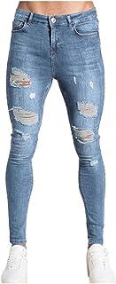 comprar comparacion Vectry Pantalones Hombre Moda Jeans Hole Trouser Pantalones Vaqueros Desgastados Pantalones Largos de Lápiz Ropa de Calle ...