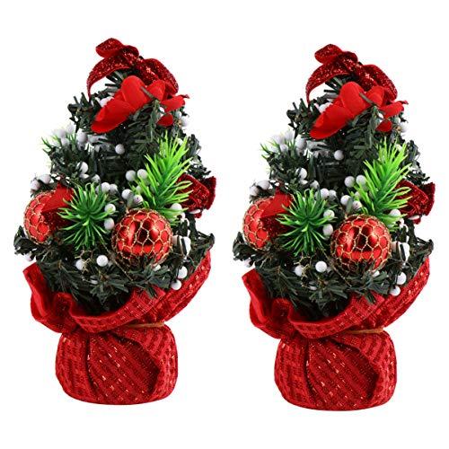 Hemoton 2 Pz Mini Albero di Natale Tavolo Albero di Natale Decorativo Piccolo Albero per Vacanze Invernali Party Home Bar Office Decor