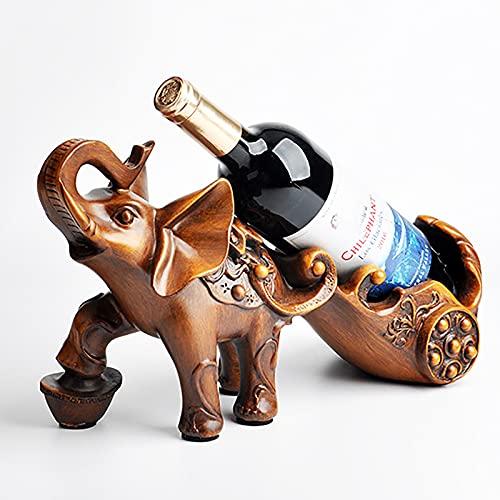 HFZY Estante de Vino de Elefante de Madera de imitación, Soporte de exhibición de Soporte de Botella de Vino de pie Libre para encimera, para decoración de Sala de Estar en casa