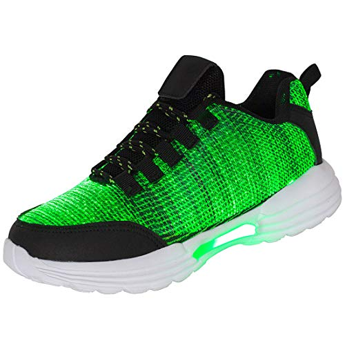 Hotdingding Fiber Optic LED Shoes Light Up Shoes for Women Men USB Charging Flashing Luminous Trainers for Festivals Christmas Party Black