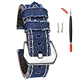 Smart Watch Band Compatible with Samsung Gear S3 Frontier/Classic/Galaxy Watch 46MM,22mm Soft Replacement Sport Canvas Strap for Gear S3 Frontier/Classic/Moto 360 2 2nd Men