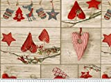 ab 1m: Dekostoff, Weihnachtsstoff, Patch, Herzen, sand-rot,