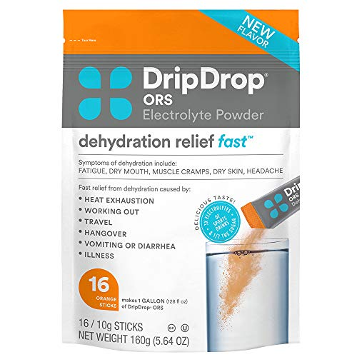DripDrop ORS - Patented Electrolyte Powder For Dehydration Relief Fast - For Workout, Sweating, Heat, & Travel Recovery - Orange - 16 x 8oz Servings