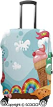 SCOCICI Luggage Bag Cover Dessert Land with Rainbow Candies Lollipop Trees Cupcake Mountains Cartoon Elastic Suitcase Protective Cover Travel Luggage Case Cover