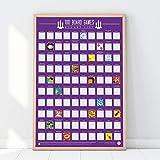 Gift Republic 100 Board Games Bucket List Poster, Purple