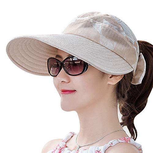Damen Sonnenhut Sonnenmütze Breite Krempe Sommerhut Sonnenschutz Sommerhut UPF 50+ Strandhut Outdoor Wanderhut mit Klettverschluss Shade Hut Faltbar Einstellbar Kappe für Wandern Besichtigung Reisen