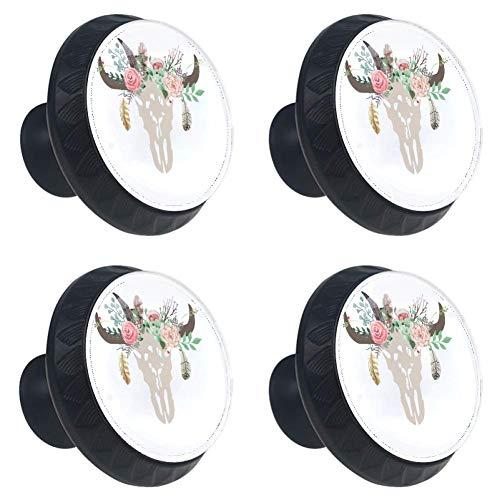 DEYYA 4 Pcs Sets Gypsy Cow Skull SVG Clipart Boho Floral Crystal Glass Cabinet Knobs Drawer Handles 30mm for Kitchen Cabinets Dresser Cupboard Wardrobe Pulls Handles