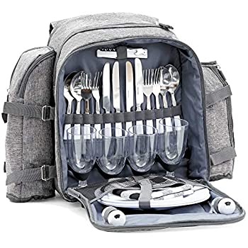 CampFeuer Sac à dos de pique-nique pour 4 personnes | set de pique-nique 32 pièces | gris | avec porte-bouteille, couverture de pique-nique, grand compartiment réfrigérant, vaisselle et couverts