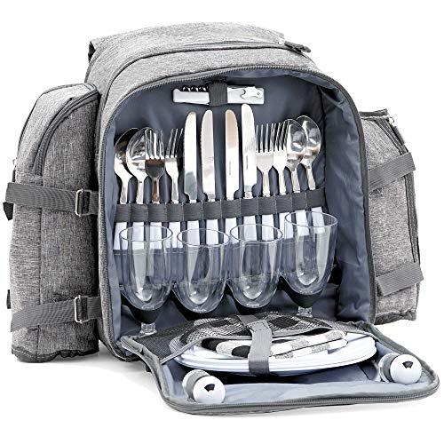 CampFeuer Picknickrucksack für 4 Personen | Picknickset 32-teilig | grau | mit Flaschenhalter, Picknickdecke, großem Kühlfach, Geschirr und Besteck