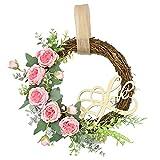 Feliz Día de la Madre Guirnalda Guirnalda Puerta de Entrada Decoración Pared Ratán Adornos de Flores Regalo Suministros para Fiestas