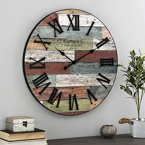 FirsTime & Co. Colorful Emmett Farmhouse Shiplap Clock, American Designed, Multi-Color, 27 x 2 x 27 inches (31207)