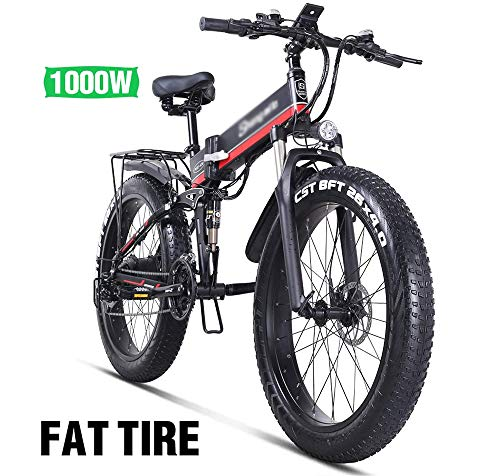 PHASFBJ 26'' Electric Mountain Bike, Electric Bicycle Fat Tire with Removable Large Capacity Lithium-Ion Battery 1000w 48v Electric Bike 21 Speed Gear and Three Working Modes,Red