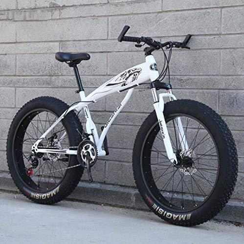 GASLIKE Bicicleta de montaña Bicicleta para Adultos Hombres Mujeres, Fat Tire MTB Bike, Hardtail High-Carbon Steel Frame y Horquilla Delantera amortiguadora, Dual Disc Brake,A,26 Inch 27 Speed
