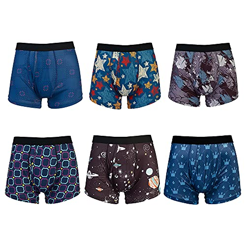 Warriors & Scholar Men's Trunk Underwear – Moisture-wicking Trunk Boxer Briefs. Super soft Trunk Fit Underwear with legs that never ride up and waistband that never rolls down - XX-Large, Pack Of 6